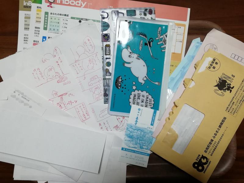 クリアファイルの中には観光地の入場チケットの半券、漫画ラフ、直近半年分の給与明細、体組成計の結果用紙、マスクケースとマスク、ふるさと納税の封筒。